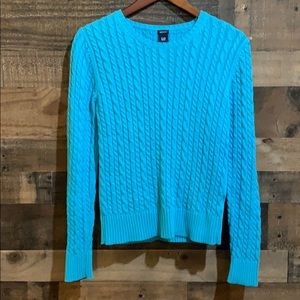 GAP Bright Blue Cable Knit Crew Neck Sweater